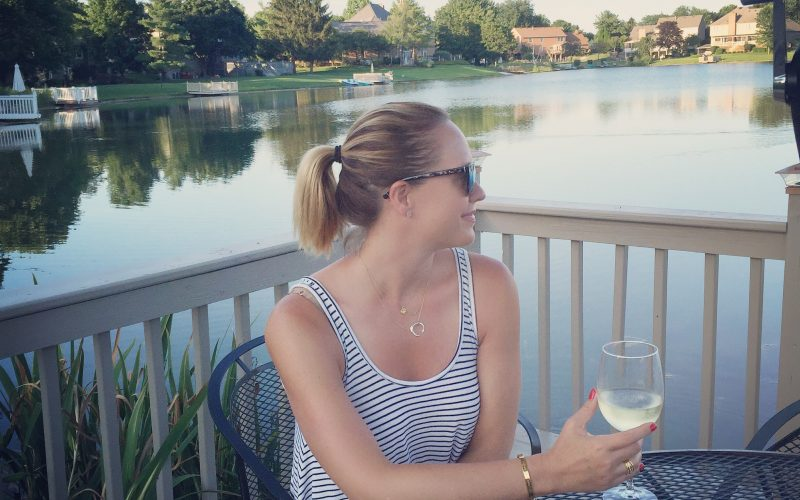 Sitting by the lake, drinking wine, and thinking about life