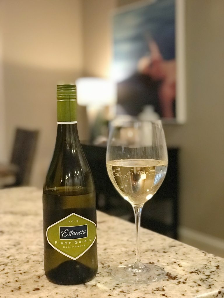 estancia pinot grigio and glass