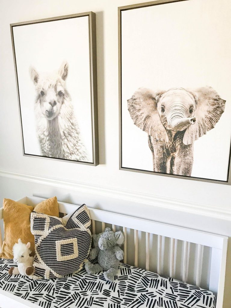 Alpeca and elephant framed canvas