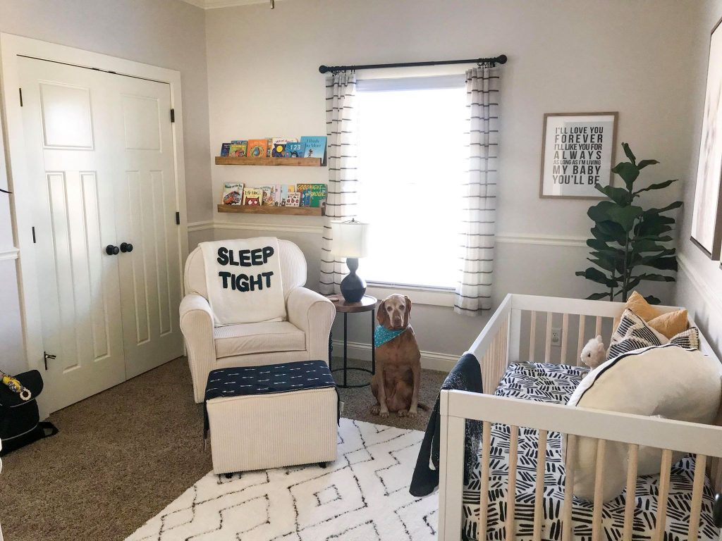black and white baby boy nursery